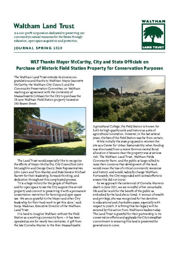 WLT Spring 2020 Newsletter