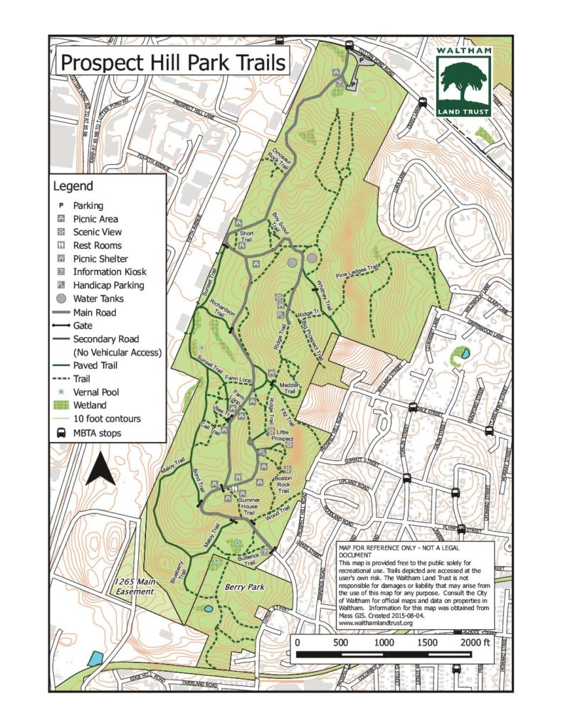 Prospect Park Map Pdf Trail Guides   Waltham Land Trust Prospect Park Map Pdf