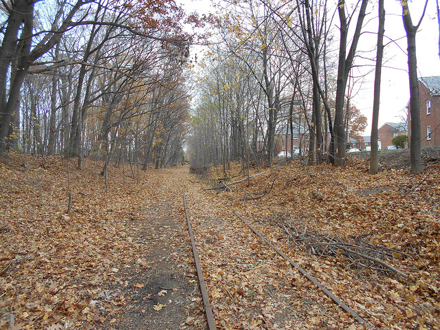 Mass Centrail Rail Trail showing old tracks