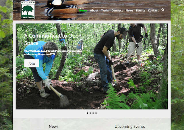 Picture of Waltham Land Trust's new website home page