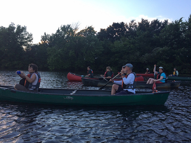 Moonlight guided paddle on the Charles River