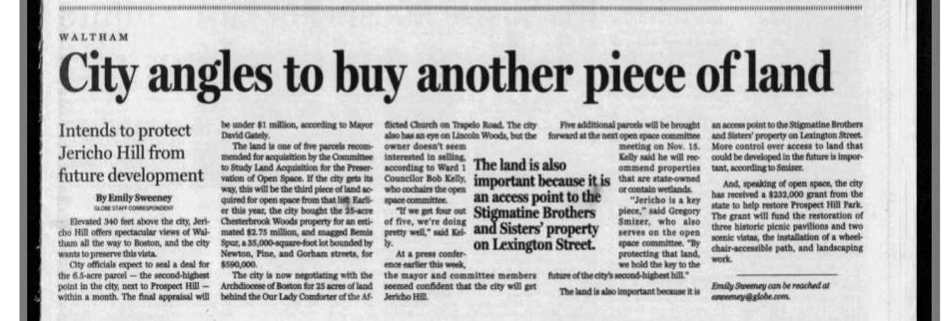 2001_11_04 Boston Globe Article